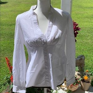 Large Tahari Ladies White Button Down Shirt